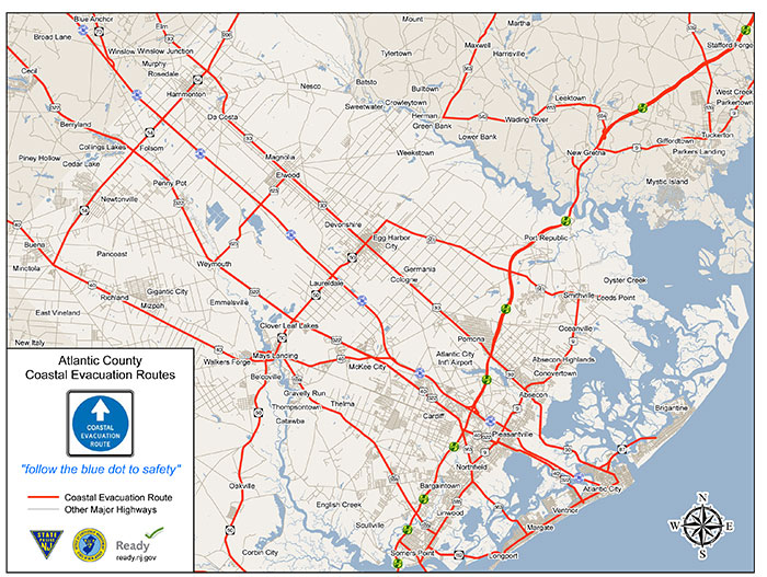 Atlantic County Evacuation Zones Map