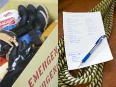 box of emergency supplies, rope and checklist, food and water supplies