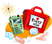 First aid kit, bandages, medication, radio with batteries, a bag to store the supplies in that can be easily carried with you in case you need to move it.